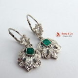 Antique Emerald Earrings 14 K White Gold