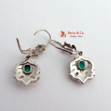 Antique Emerald Earrings 14 K White Gold