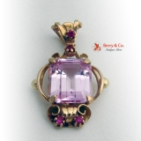 Vintage Retro Pendant Rose Gold Pink Sapphire Ruby 14 K Gold
