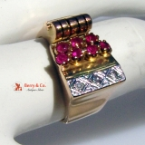 Vintage Retro Ring 10 K Rose Gold Rubies Diamonds
