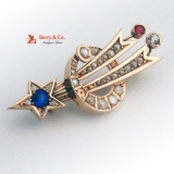 Victorian Shooting Star Crescent Moon Brooch Pin 12 K Gold Seed Pearls Red Blue White Gems