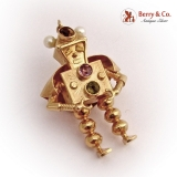 Whimsical Robot Pendant 18 K Gold Peridot Amethyst Pearls