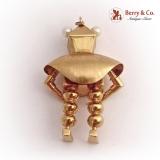 Whimsical Robot Pendant 18 K Gold Peridot Amethyst Pearls