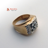 14K Yellow Gold Diamonds Gentlemen Men's Ring