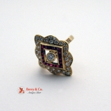 Ornate Long 14 K Yellow Gold Diamond Ruby Ring