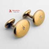 Vintage Edwardian Cufflinks 14 K Yellow Gold Diamonds