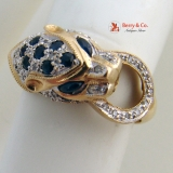 Vintage Leopard Head Ring Sapphires Diamonds 14 K Yellow Gold