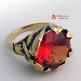 Vintage Custom Made Ring Large Orange Red Garnet 14 K Yellow Gold