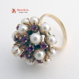 Vintage Ornate Cocktail Ring Burlesque Style 14 K Yellow Gold Rubies Pearls