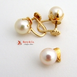 Estate Pearl Earrings and a Pendant 14 K Gold