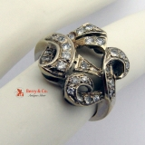 Ornate Ring 14 K White Gold Diamonds