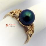 Tahitian Black Pearl 14 K Gold Ring