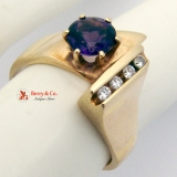 Amethyst Ring Diamond Accents 14 K Yellow Gold
