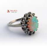 White Opal Ring Diamond 14 K White Gold