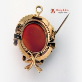 Victorian Cameo Brooch Pendant 18 K Rose Gold Seed Pearls 1880