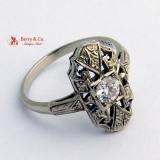 Art Deco Ring 18 K White Gold Diamond