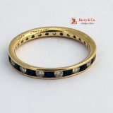 Eternity Ring Diamonds Sapphires 14 K Yellow Gold