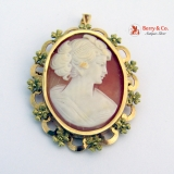 Oval Cameo Brooch Pendant 18 K Yellow Gold