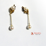 Dangle Pearl Earrings 14 K Gold