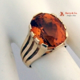Retro Citrine 14 K Gold Ring