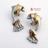 Dolphin Earrings 14 K Multi-Colored Diamonds Rubies