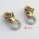 Leopard Earrings 14 K Gold Diamonds Enamel
