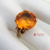 Retro Citrine Gold Ring 10 K Gold