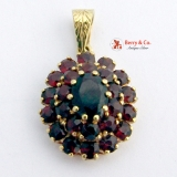Oval Garnet Pendant 14 K Yellow Gold