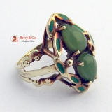 Vintage Jade and Enamel Ring 14 K Yellow Gold