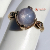 Vintage Star Sapphire Ring 14 K Gold Diamond Accents