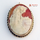 Architectural Shell Cameo Brooch Pendant 14 K Gold