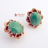 Vintage Oval Jade Earrings 14 K Gold