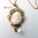 Antique Cameo Lavaliere 10 K Gold Carved Shell