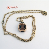Intaglio Locket Pendant 14 K Gold Intaglio Tigers Eye Onyx