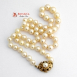 Vintage Pearl Strand Necklace 14 K Gold