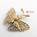 Butterfly Pendant 14 K Gold Diamonds