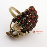 Large Dazzling Ring Grape Bunch 10 K Gold Garnets