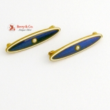 Vintage Pair of Small Bar Brooches Guilloche Enamel 14 K Gold Seed Pearl