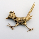 Vintage Road Runner Bird Brooch 14 K Gold Diamond Eye