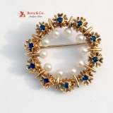 Vintage Ornate Round Brooch 14 K Gold Pearls Sapphires
