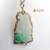 Vintage Carved Jade Buddha Pendant 18 K Gold Diamonds