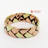 Vintage Retro Mens Ring 14 K Pink and Yellow Gold Braid Pat. 143923