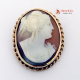 Vintage Oval Cameo Brooch Pendant 14 K Gold