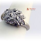 Leaf Ring 14 K White Gold Diamonds.