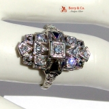 Art Deco Cocktail Ring Diamonds Sapphires 18 K White Gold