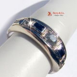 Art Deco Band Ring Diamonds Sapphire White Gold 18 K Gold