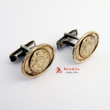 Oval Aztec Cufflinks Sterling Silver 14 K Gold
