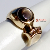 Vintage Black Star sapphire Ring diamond Accents 14 K Gold