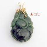 Vintage Carved Jade Nephrite Pendant 14 K Gold