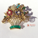 Vintage Basket of Flowers Gem Brooch 14 K Gold